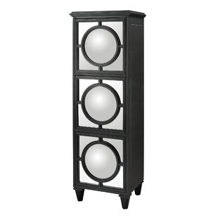 Channell Convex Mirror Shelf Accent Cabinet