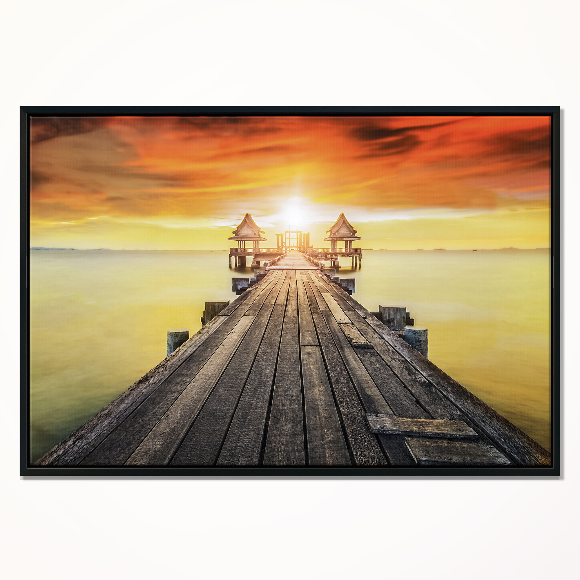 East Urban Home Huge Wooden Pier Into Yellow Sun Framed Graphic Art Print On Wrapped Canvas Wayfair
