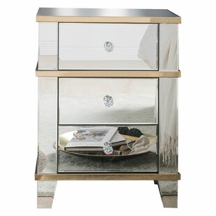 Odion Mirrored 3 Drawer Nightstand by House of Hampton