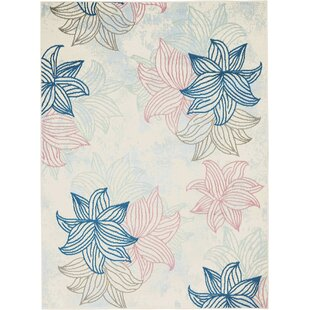 Boggess Floral Ivory/Pink/Blue Area Rug by Bungalow Rose