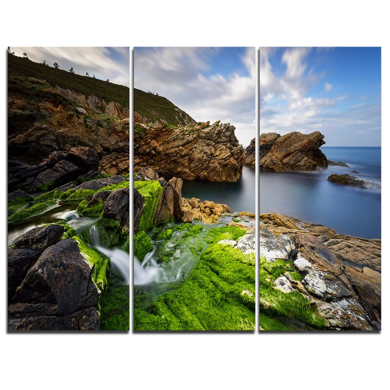 Ordinary Rocks In Spanish Part - 7: Rocks And Waterfall In Spanish Coast - 3 Piece Graphic Art On Wrapped  Canvas Set