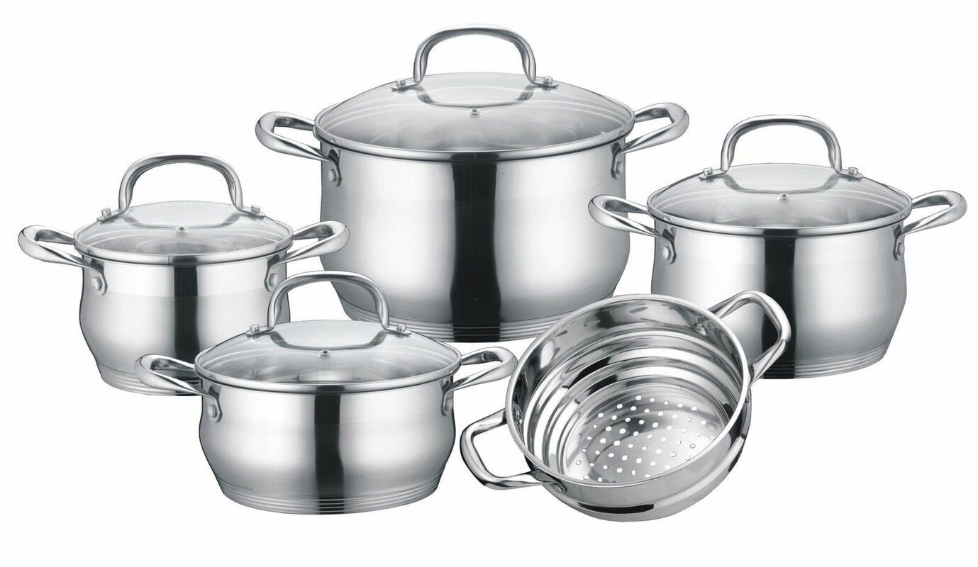 Concord Stainless Steel 9 Piece Cookware Set & Reviews | Wayfair