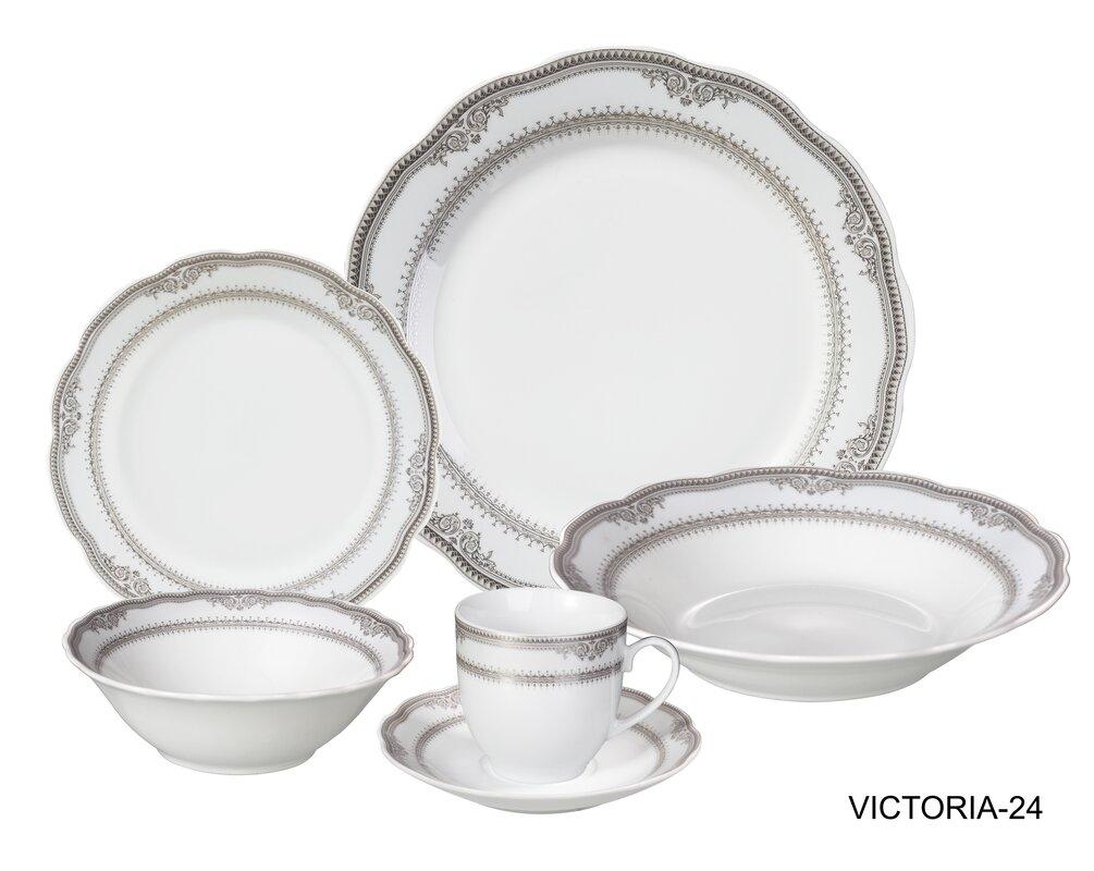 Victoria 24 Piece Porcelain Dinnerware Set Service for 4  sc 1 st  Wayfair & Lorren Home Trends Victoria 24 Piece Porcelain Dinnerware Set ...