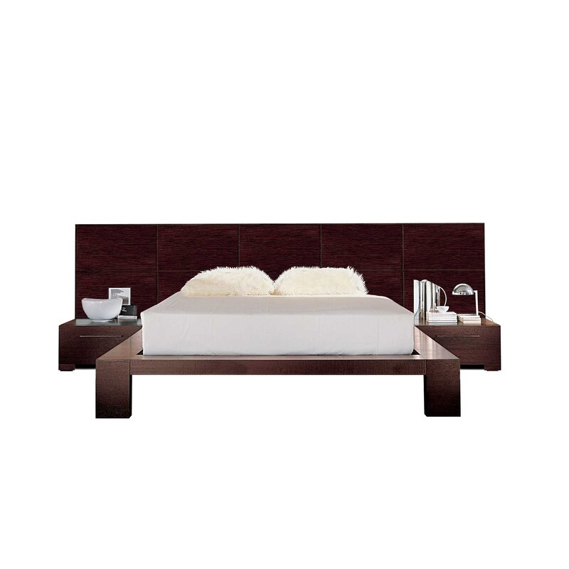 Yoko Platform 2 Piece Bedroom Set Color: Brown Leather , Bed Size: King