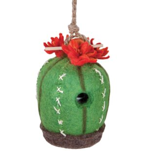 Global Crafts Cactus Felt 9 in x 6 in x 6 in Birdhouse