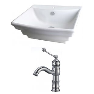 Comparison Ceramic 20 Wall Mount Bathroom Sink with Faucet and Overflow ByAmerican Imaginations