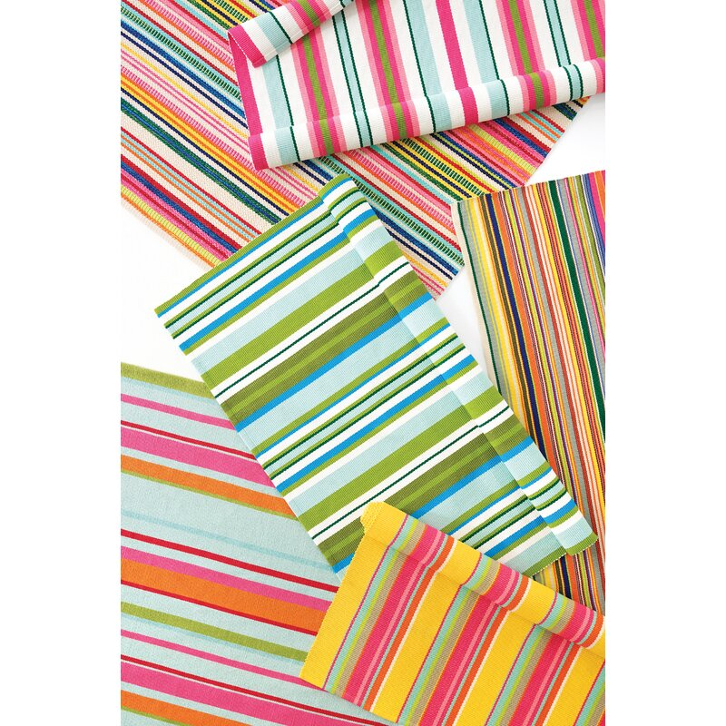Dash And Albert Rugs Tropical Striped Handmade Flatweave Yellow Pink Green Indoor Outdoor Area Rug
