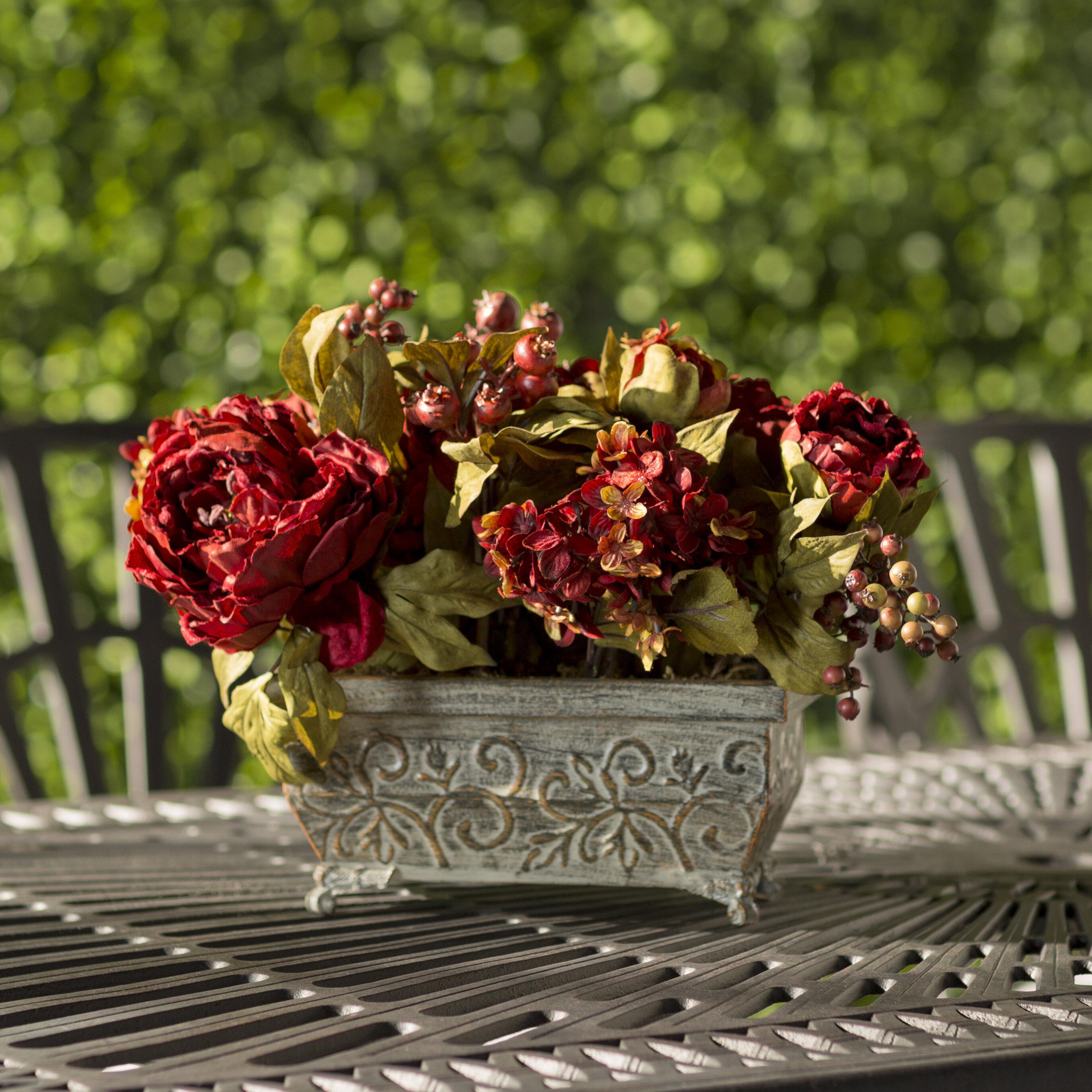 Astoria Grand Peony And Hydrangea Centerpiece In Planter Reviews Wayfair