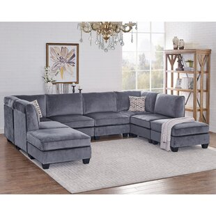 Ivy Bronx Eula Modular Velvet Sofa Set
