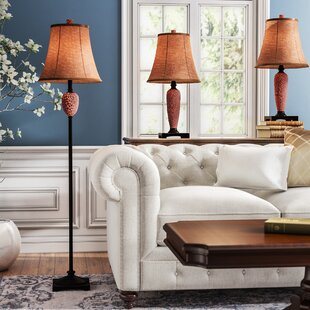 Mississippi Hammered 3 Piece Table and Floor Lamp