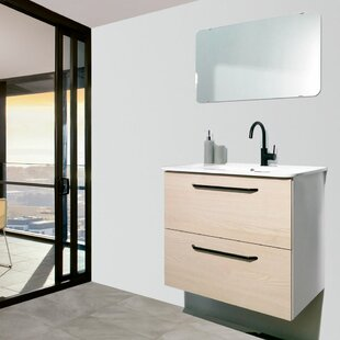 Reviews Auten Modern 24 Wall-Mounted Single Bathroom Vanity Set with Mirror ByWrought Studio