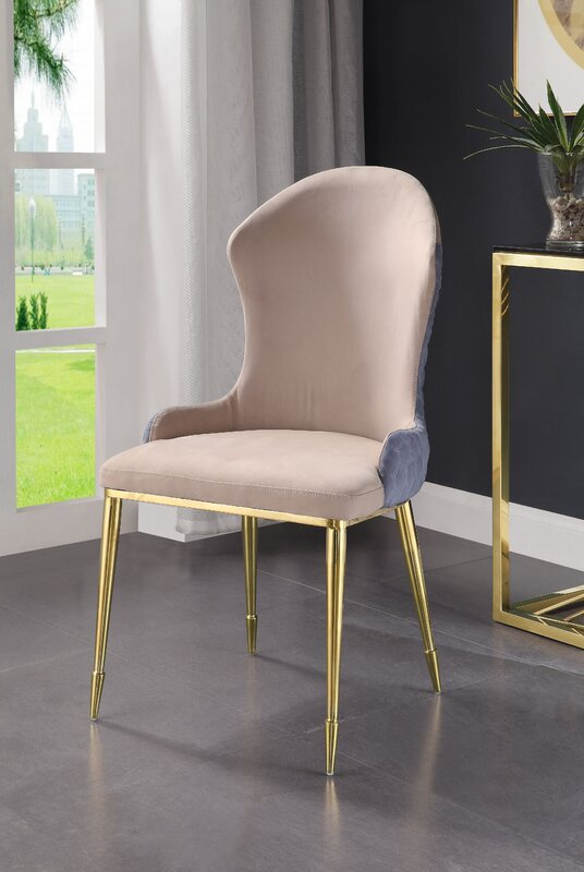 Cozzy Design Candice Wingback Side Chair in Tan (Set of 2)