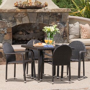 Georgianne Outdoor Wicker 5 Piece Dining Set