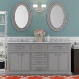 Bergin 60 Double Sink Bathroom Vanity Set with Mirror by Three Posts™