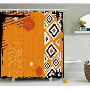 Price comparison Muriel Tribal Ethnic African Design With Bold Lines Geometric Triangles Artwork Image Shower Curtain By Ebern Designs