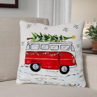 Christmas Bus Throw Pillow