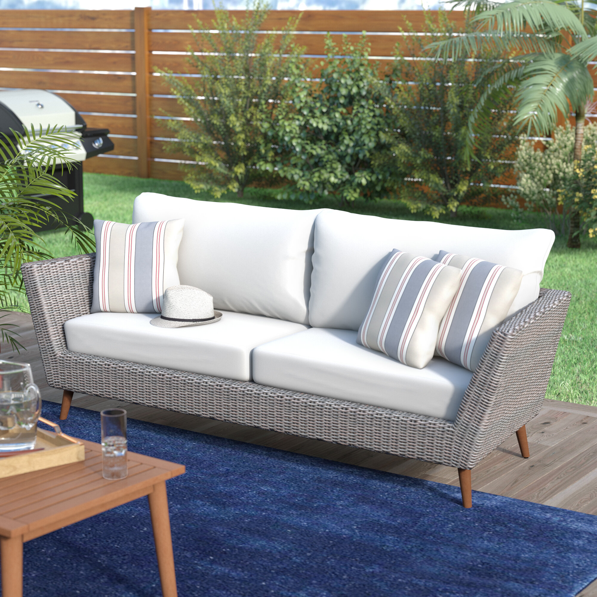 Langley Street Newbury Patio Sofa with Cushions & Reviews | Wayfair