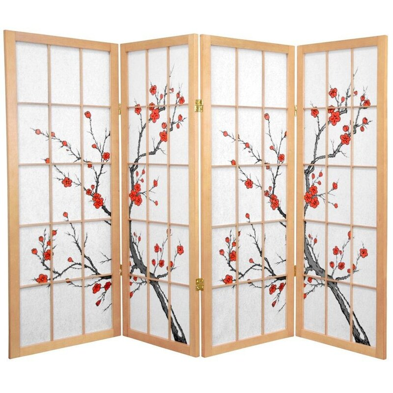 Oriental Furniture Low Cherry Blossom Shoji Room Divider - Cherry blossom room divider screen