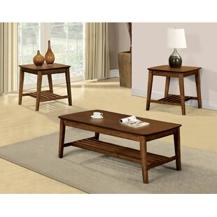 Ronaldo Transitional Wooden 3 Piece Coffee Table Set