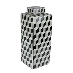 Decorative Patterned Ceramic Covered Storage Jar by Orren Ellis Best Design