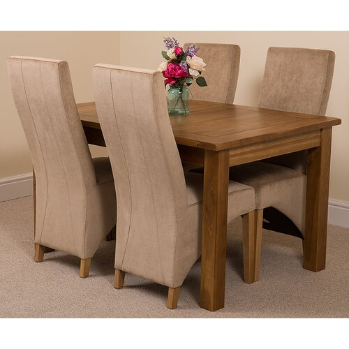 Florencia Solid Oak Dining Set with 4 Lola Chairs Rosalind