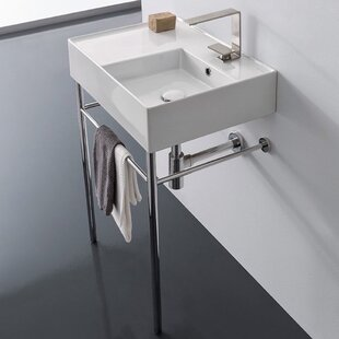 Ceramic 24 Console Bathroom Sink with Overflow