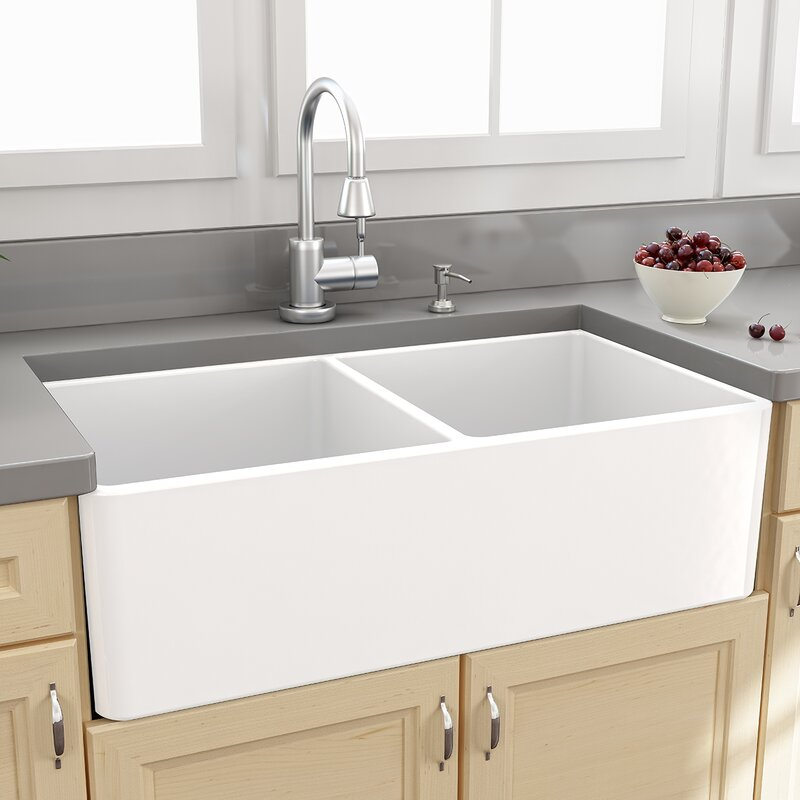 "Bathroom Sinks Double Basin nantucket sinks cape 33"" x 18"" double bowl kitchen sink with grids"