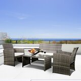 4 Piece Rattan Sofa Seating Group with Cushions by Winston Porter