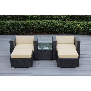 Baril 5 Piece Conservation Set with Sunbrella Cushions by Wade Logan