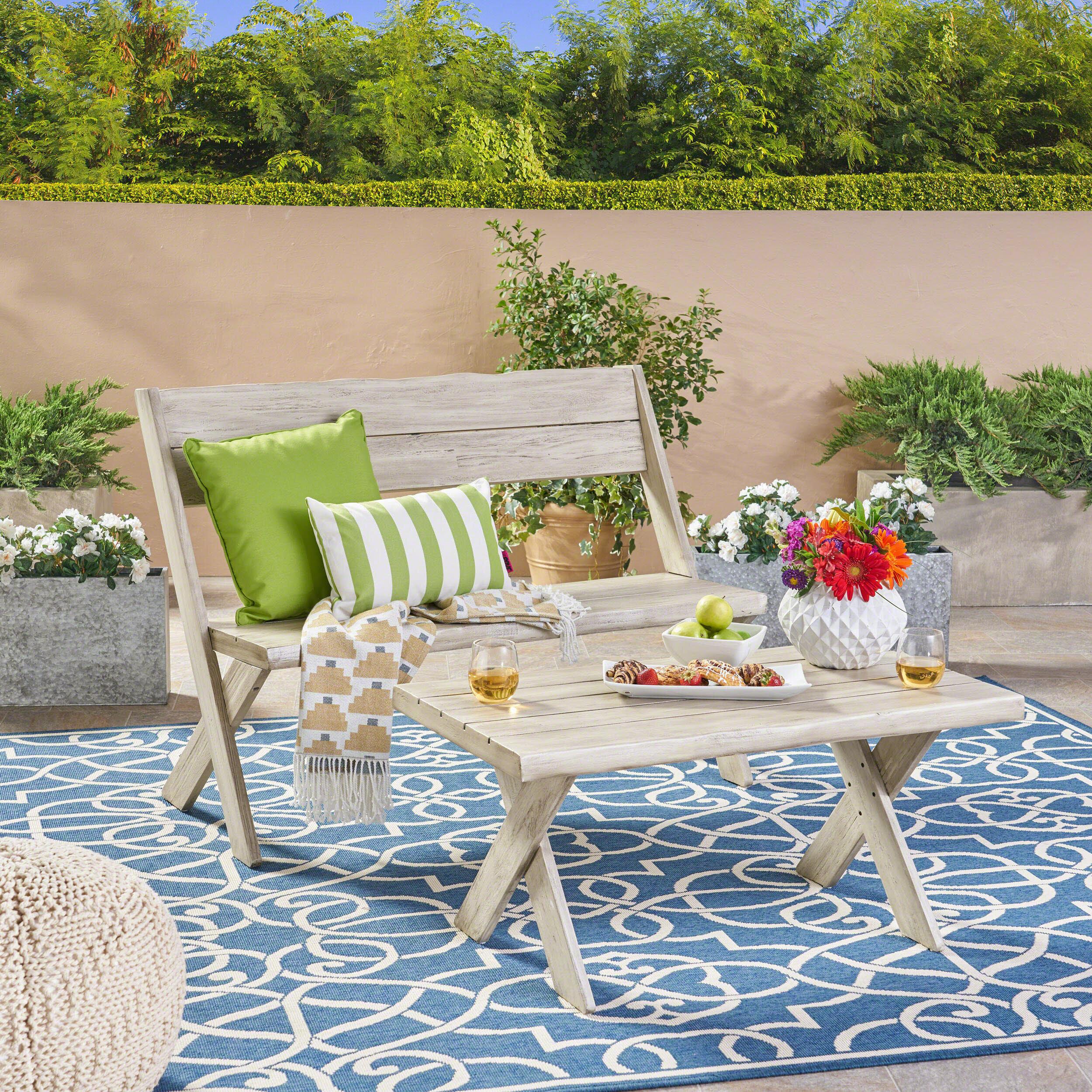 Fantastic Eltingville Outdoor Acacia Wood Loveseat And Coffee Table Set Evergreenethics Interior Chair Design Evergreenethicsorg
