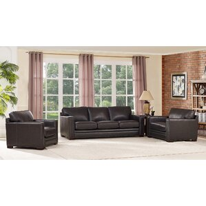 Neil Leather 3 Piece Living Room Set by Tren..