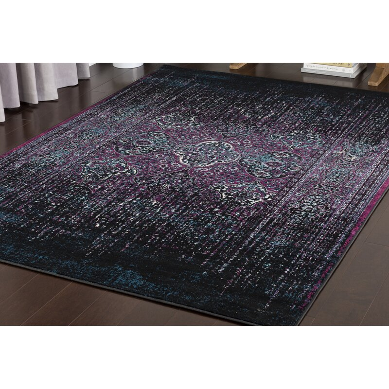World Menagerie Ana Overdyed Traditional Wool Purple Black Area Rug