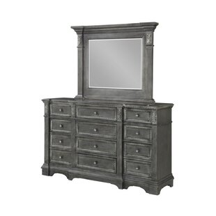 Marseille 12 Drawer Double Dresser with Mirror