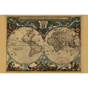 Magnetic j world map wayfair new accurate map of the world by j blaeu graphic art gumiabroncs Gallery