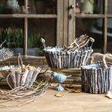 Rustic Decorative 3 Piece Wood Basket Set