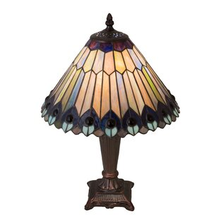 17 High Tiffany Jeweled Peacock Table Lamp
