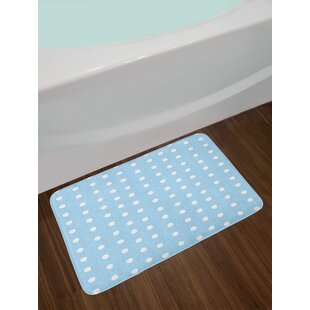 Ambesonne Aqua Bath Mat by, Watercolor Style White Spots on Blue Backdrop Retro Style Polka Dots Baby Pattern, Plush Bathroom Decor Mat with Non Slip Backing, 29.5 W X 17.5 W Inches, Baby Blue White