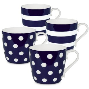 Sterling Polka Dots and Stripes 4 Piece Coffee Mug Set