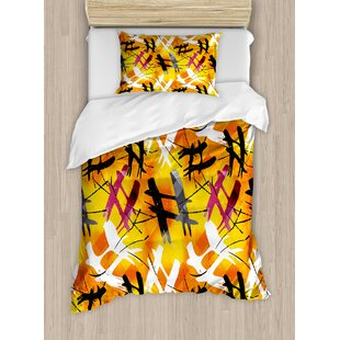East Urban Home Modern Abstract Digital Graffiti Image with Marigold Backdrop and Stripes Duvet Set