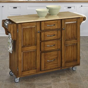 Adelle-a-Cart Kitchen Island with Butcher Block Top by August Grove