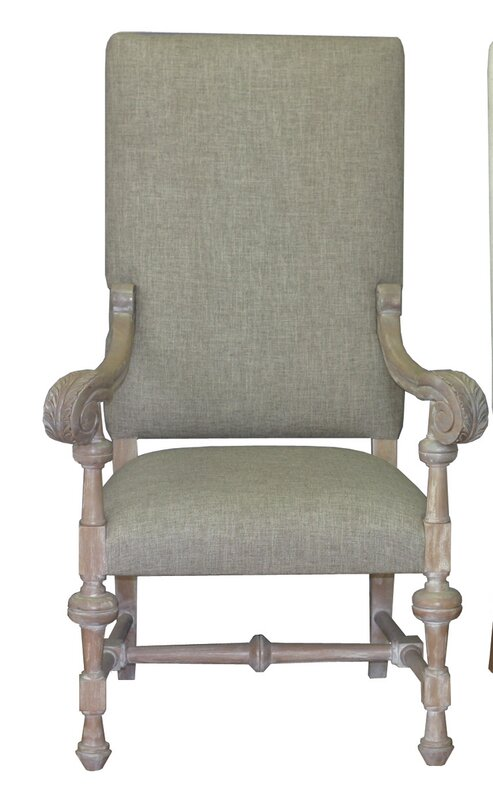 One Allium Way Lenora Solid Wood Upholstered Dining Chair