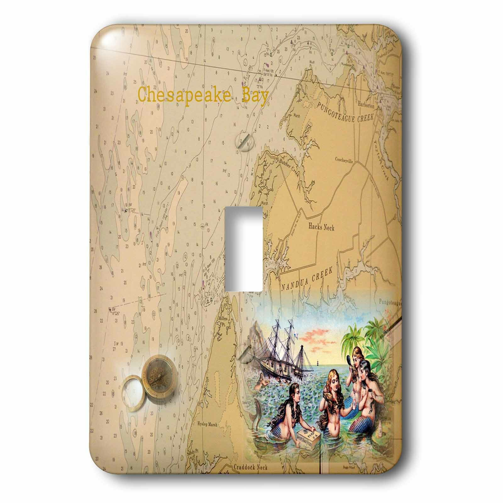 3drose Chesapeake Bay With Mermaids 1 Gang Toggle Light Switch Wall Plate Wayfair