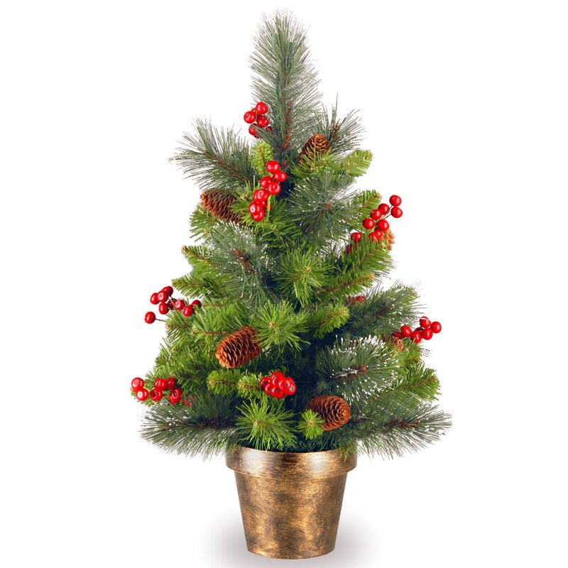 Gold Hill Spruce 2' Green Small Artificial Christmas Tree with Clear Lights - Loon Peak Gold Hill Spruce 2' Green Small Artificial Christmas Tree