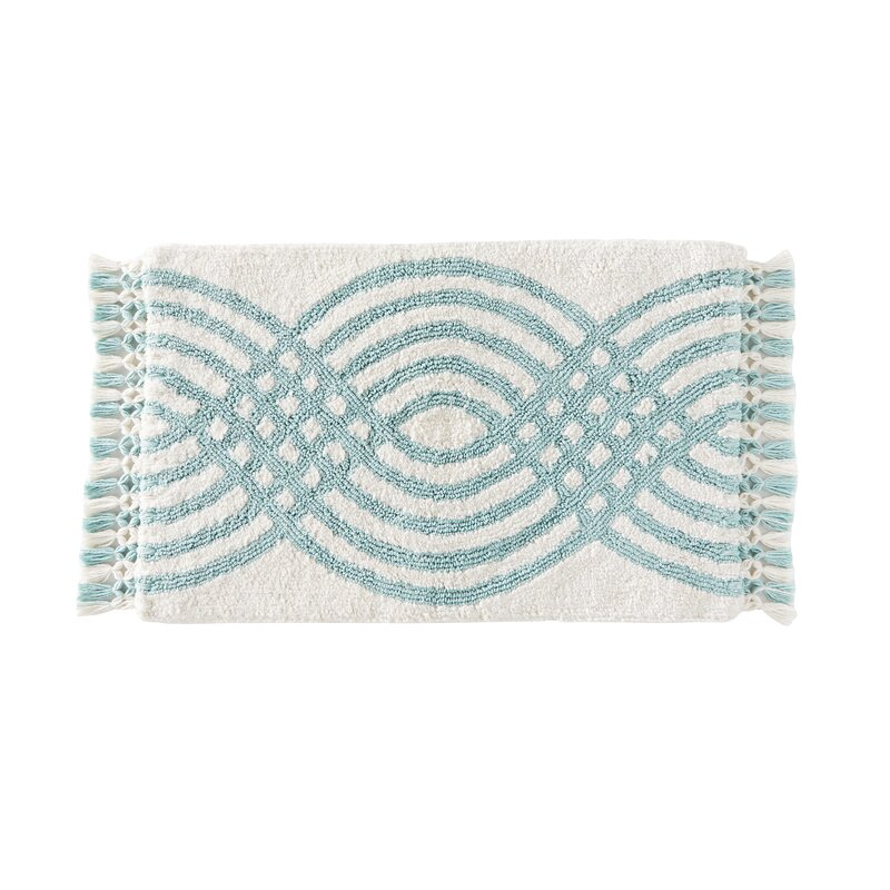 Ivy Bronx Standridge Fringed Rectangle 100 Cotton Non Slip Waves Bath Rug Reviews Wayfair