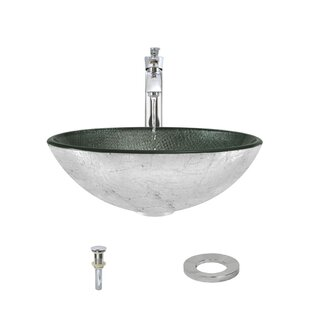 MR Direct Tempered Glass Circular Vessel Bathroom Sink with Faucet