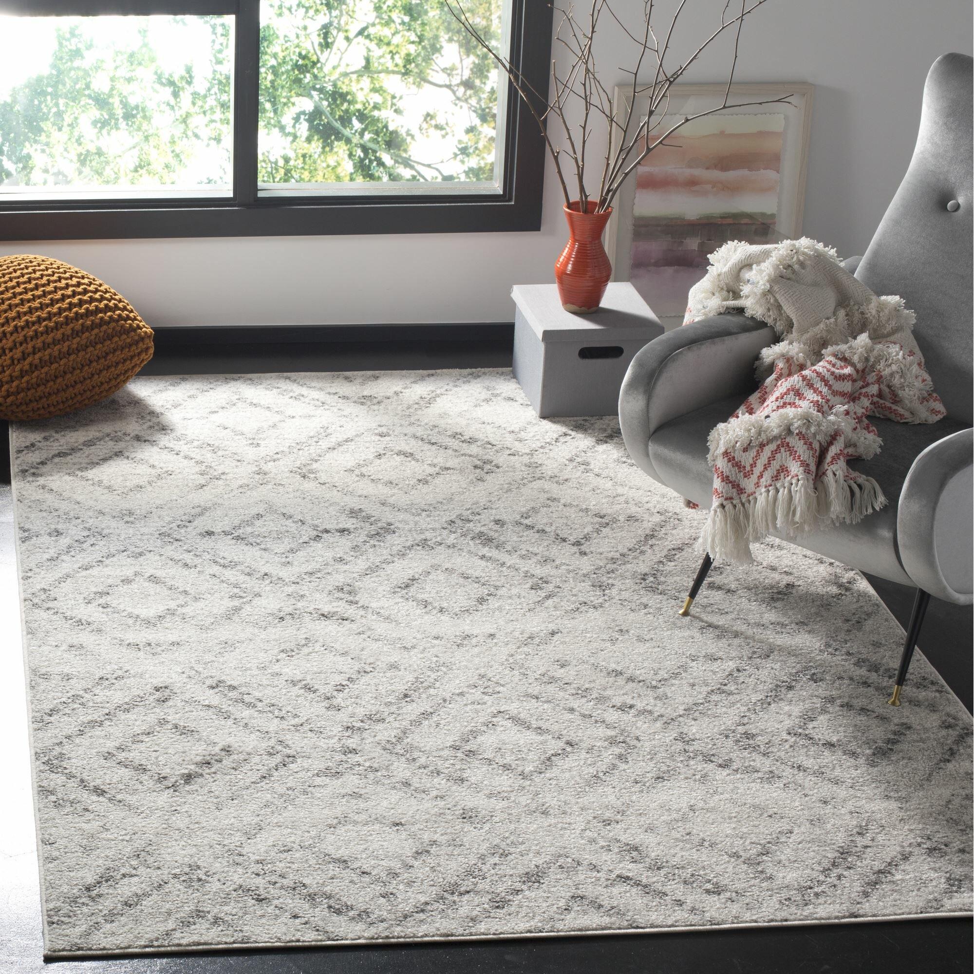 Wrought Studio Shelva Geometric Light Gray Gray Area Rug Reviews Wayfair