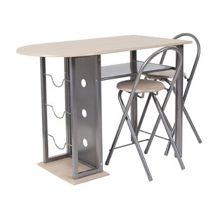 Poteau 3 Piece Dining Set with Wine Rack by Symple Stuff
