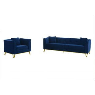 2 Piece Faux Leather Living Room Set by Mercer41