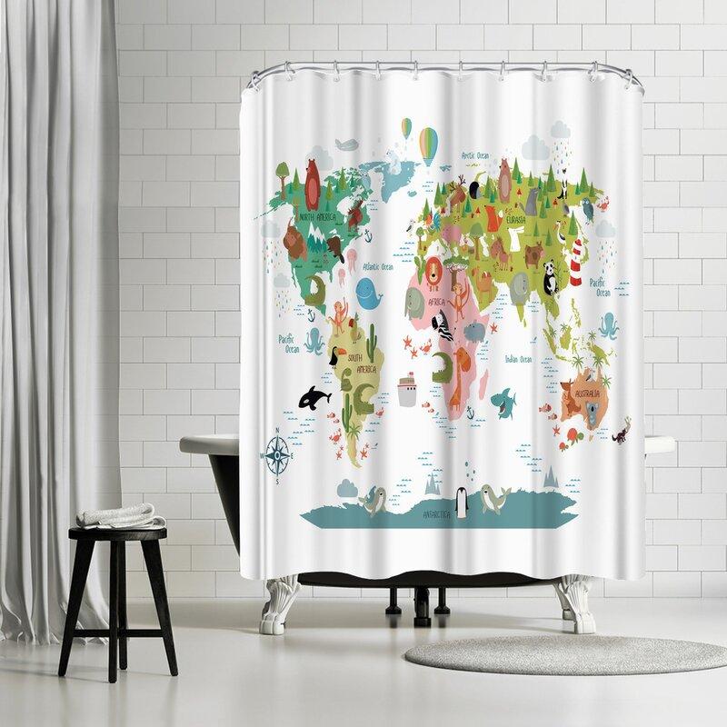East Urban Home Nauda Animals World Map Shower Curtain Wayfair
