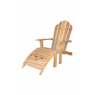 Outdoor Teak Adirondack Chair with Ottoman by Anderson Teak